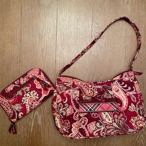 Vera Bradley Burgundy Paisley Shoulderbag & Wallet